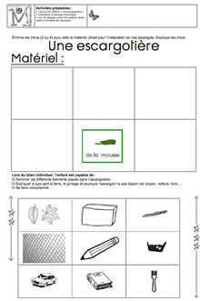 escargots et langages en maternelle petite moyenne et grande sections. Black Bedroom Furniture Sets. Home Design Ideas